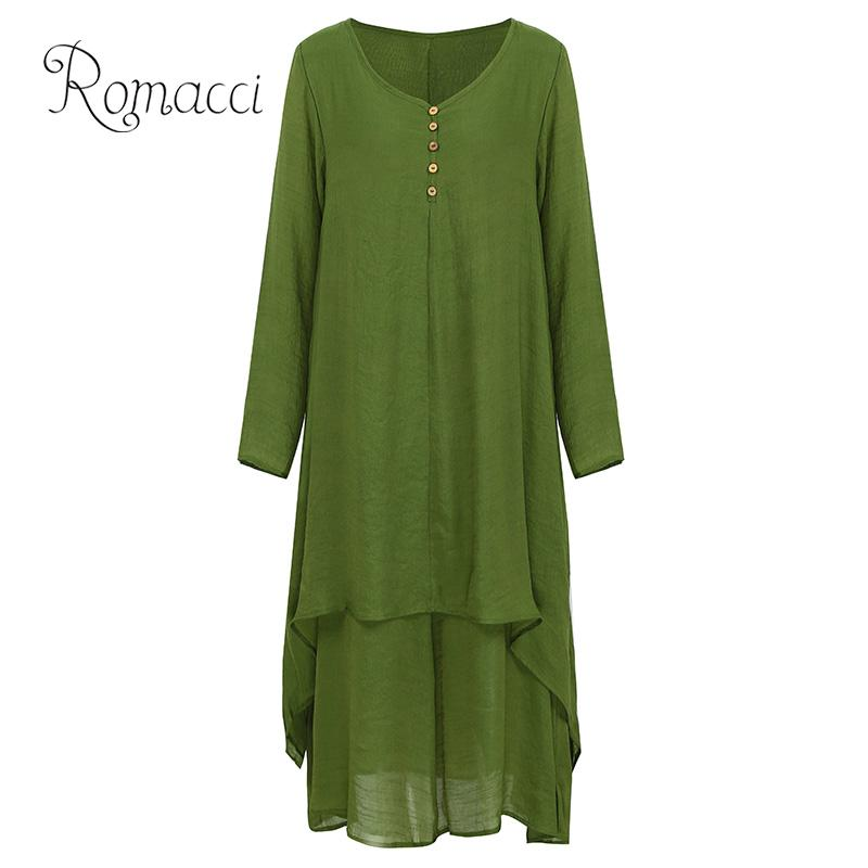 5bea493c05f Detail Feedback Questions about Romacci Plus Size Dress for Women XXXL 4XL  5XL Fashion Women Casual Loose Dress Solid Color Long Sleeve Boho Long Maxi  Dress ...