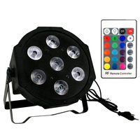 4pcs Wireless remote control LED Mini PAR light 7X12W DMX rgbw 4in1 quad led flat par can stage lighting