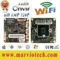 1MP HD 720 P wifi Cámara de Red IP CCTV Junta Módulo inalámbrico secrutity placa base con interfaz de Audio, Onvif