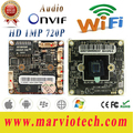 1MP HD 720 P wifi IP de Rede CCTV Camera Board secrutity Módulo sem fio placa de sistema com interface de Áudio, Onvif