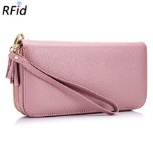 Double Zipper Wallet Ladies Genuine Leather Rfid Long Mobile Phone Bag Wallet Large Capacity Multi-card Leather Clutch Bag(China)