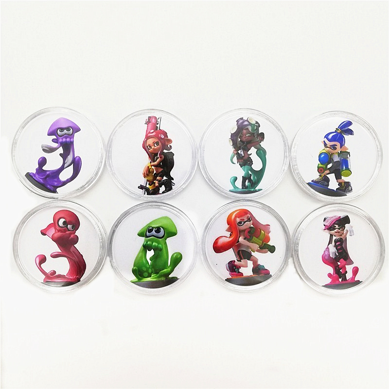 New Data Seting Ntag215 Full Set 16pcs Splatoon 2 NFC Game Card Of Amiibo Sticker Print Collection Coin Card Tag Fast Shipping