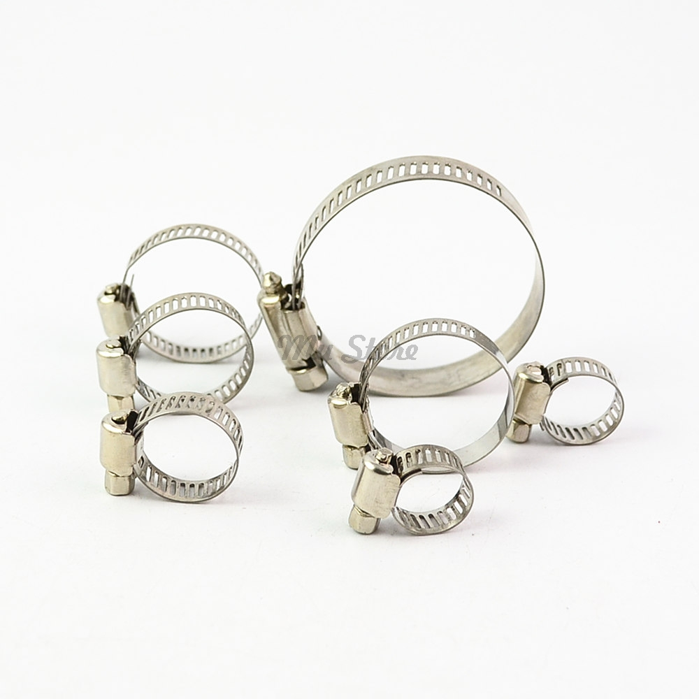 10pcs/lot High Quality Screw Worm Drive Hose Clamp 304 Stainless Steel Hose Hoop Pipe Clamp Clip 35mm 110mm 304 stainless steel saddle clamp antirust cable clip water pipe fixing bracket clamp