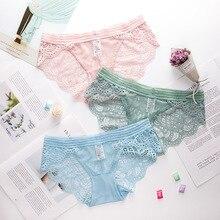 Wasteheart Women Fashion Green Pink Blue Mesh Cotton Lace Trim Low Waist Panties Underwear Lingerie Briefs 3 Piece Color M L