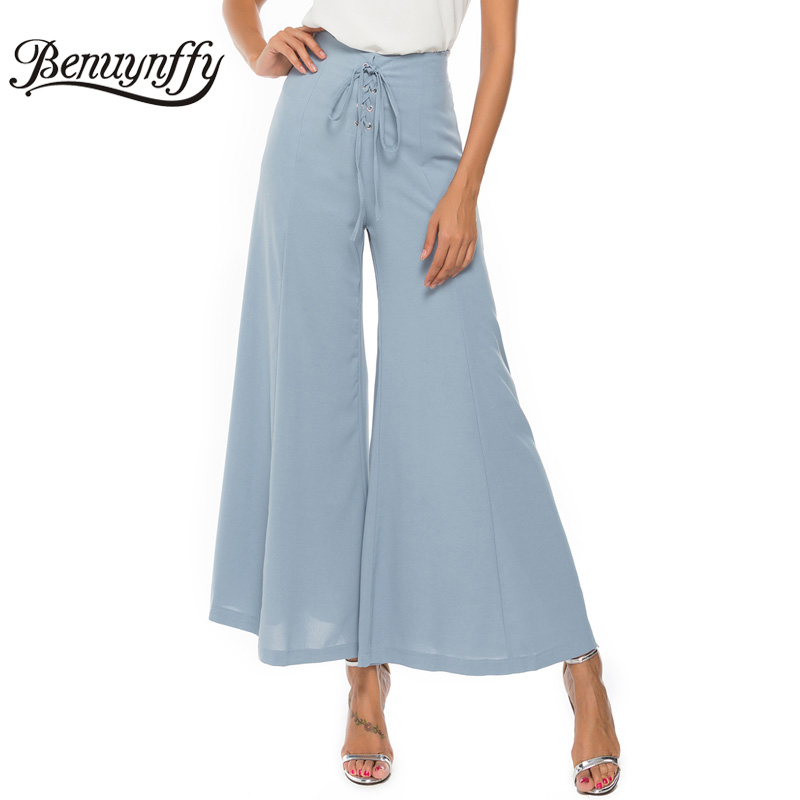 Benuynffy Solid Lace up High Waist   Pants   Summer Long Trousers for Women Elegant Workwear Office Lady   Wide     Leg     Pants   2019