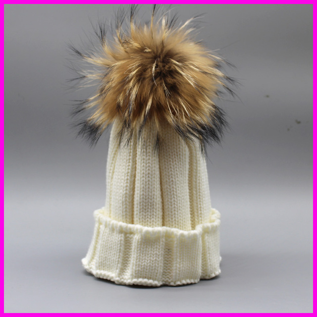 Fashion Womens Winter Raccoon Fur Hat For Ladies 100% Real Fur Pompoms Ball  Beanies Cap Crochet Knitted Hats