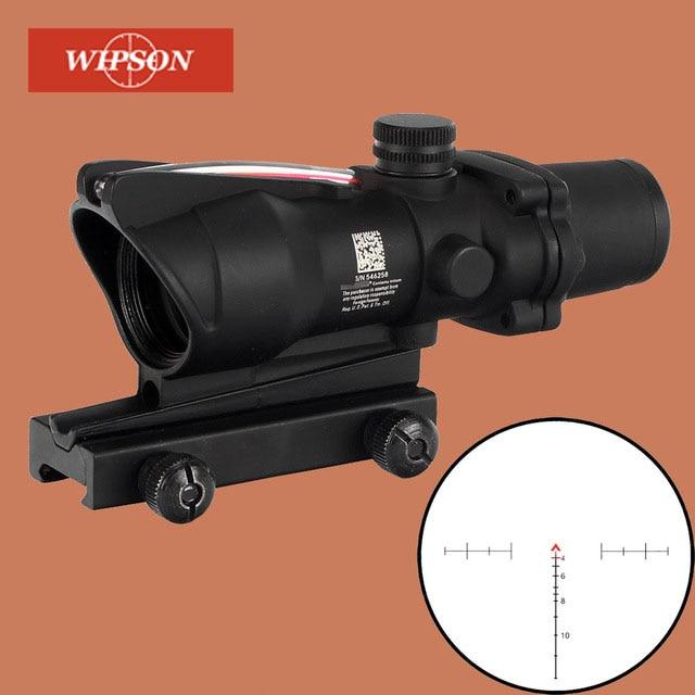 WISPON caza Riflescope ACOG 4X32 Real de fibra óptica rojo verde iluminado Chevron de vidrio grabado retícula táctico vista óptica