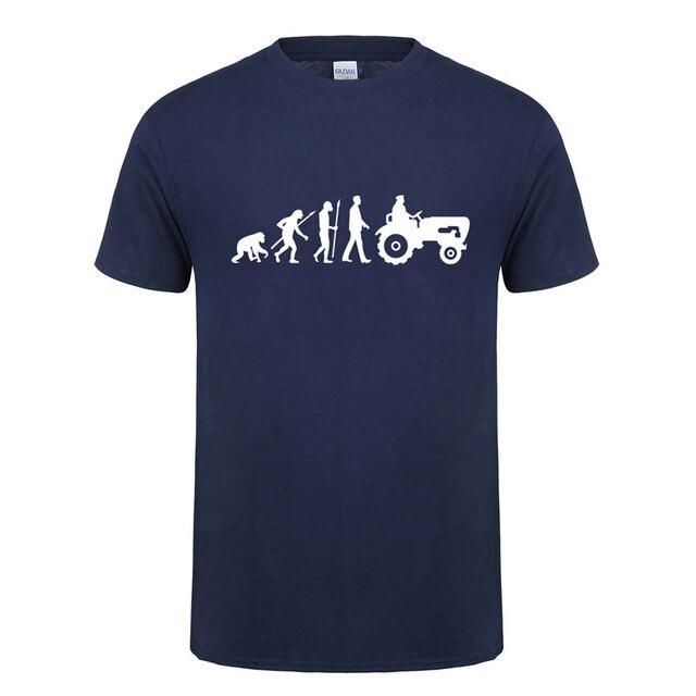 Baru Musim Panas Mode Evolution Lahir Untuk Pertanian Traktor T Kemeja Pria Lengan Pendek Katun T-shirt Tops Camisetas Tshirt OT-801 Petani