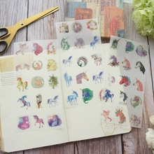 DIY 3 Sheets Unicorn Head Washi Paper Sticker As Scrapbooking Decoration Gift Packing Label Use