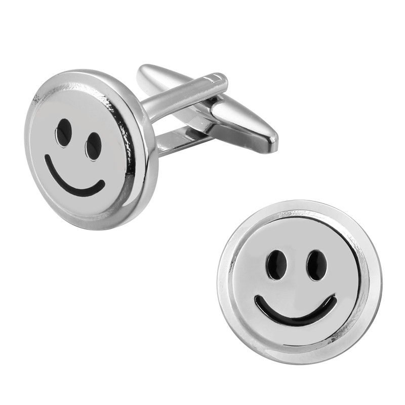High-end mens shirt brand jewelry Cufflinks expression package cufflinks, lovely smiling face French shirt accessories