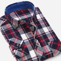 Men S Flannel Plaid Shirts Dress 2017 Male Casual Warm Soft Comfort Long Sleeve Men Shirt