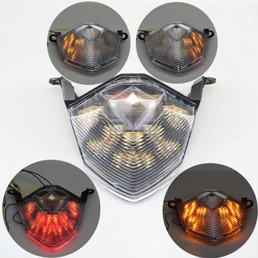 Integrated LED Rear Brake Tail Tight & Indicator Turn Signals Fits For Kawasaki Ninja ZX10R ZX 6R Z1000 Z750 Clear Lens New