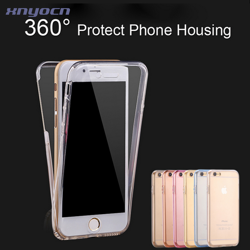 For iPhone 7/Plus Mobile Phone Case Fashion 360 Degree Full Coverage Cover For iPhone 7 iPhone7 Plus Touch Screen Clear TPU Case