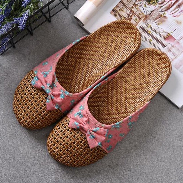 SexeMara Anti-slip Straw indoor Slipper 2017 Summe Women Indoor Home Bow tie Shoes Toe flat Ladies Sandals size 35-40