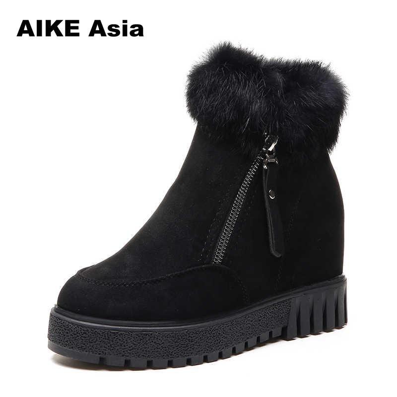 Tobillo Nieve Green 2019 Bota Plataforma De Botas brown Piel Invierno Caliente Black Casuales Zapatos Mujer army Moda Con Camiseta nwxnqUg67
