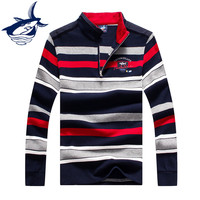 2018 Autumn Brand Men Straight Colorful Striped Business style Sweater Shark High Quality Cotton Mens Long Sleeve polo sweater