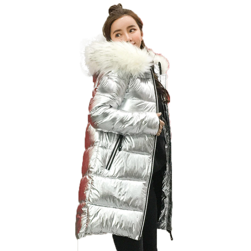 Metal plata de oro brillante chaqueta con capucha mujeres invierno cálido algodón acolchado de largo Parkas bombardero de alta calidad Streetwear Parka