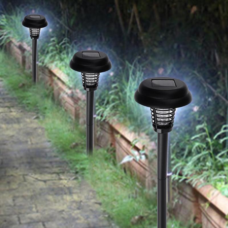 Plastic Waterproof Solar Mosquito Killer LED Lamp Solar Power Light Outdoor Garden Yard Lawn Walkway Emergency Lamp Insect Light