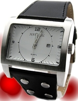 Big Rectangular Watches Case Watches For Men Women Date Display White Dial Matt Silver Water Resist