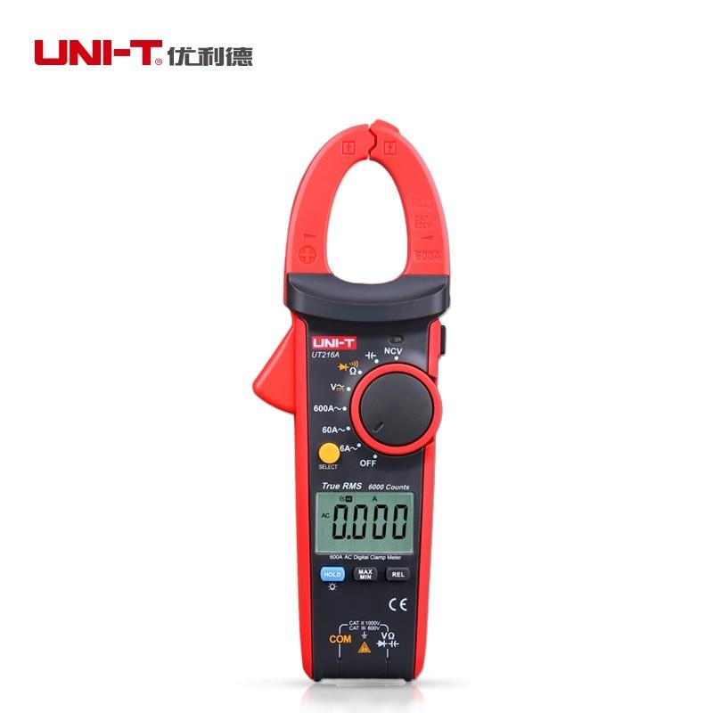 UNI-T UT216A 600A True RMS Auto Range Digital Clamp Multimeter Flashlight NCV Non-contact Voltage Detection Display Count 6000 uni t ut262c non contact phase detectors 3 phase sequence circuit break detection voltage detection