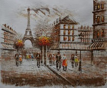 Hand Painted European Landscape Oil Painting on Canvas Eiffel Tower Paris Stree Wall Art Picture for Living Room