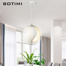 Botimi Modern LED Pendant Lights With Metal Lampshade For Dining Room Round White Hanging Lamp Adjust E27 Suspension Lighting rustic wood art milk white glass lampshade pendant lights modern fashion e27 led lamp for porch
