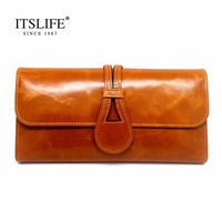 Womens Retro purse genuine leather tri fold long section of women's large capacity bag buckle cover cowhide women wallets