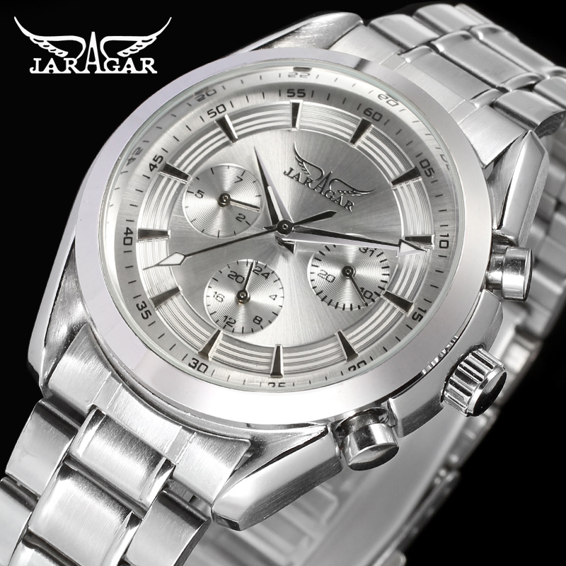 Jargar Automatic Mechanical Brand Watch Mens relogio masculino Stainless silver men s luxury watch montre homme