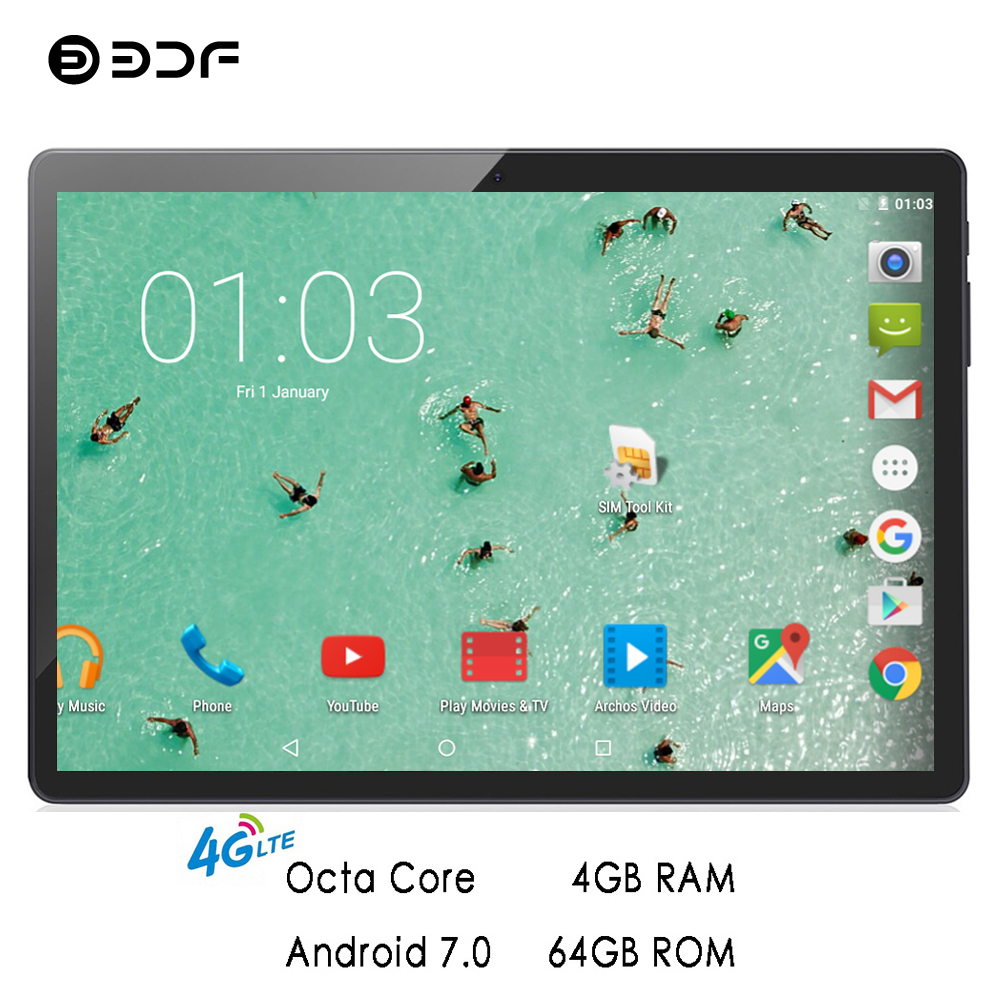 BDF 2019 Tablet 10 Inch 4G Phone Call Tablets Octa Core 4GB+64GB Tablet Pc Android 7.0 WiFi Dual SIM Card Pc Tablet 7 8 9 10 Tab
