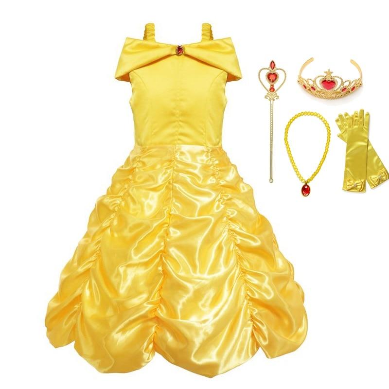 VOGUEON niñas princesa Belle vestir ropa sin mangas belleza y la Bestia fiesta Cosplay disfraz niños vestido de fiesta de cumpleaños