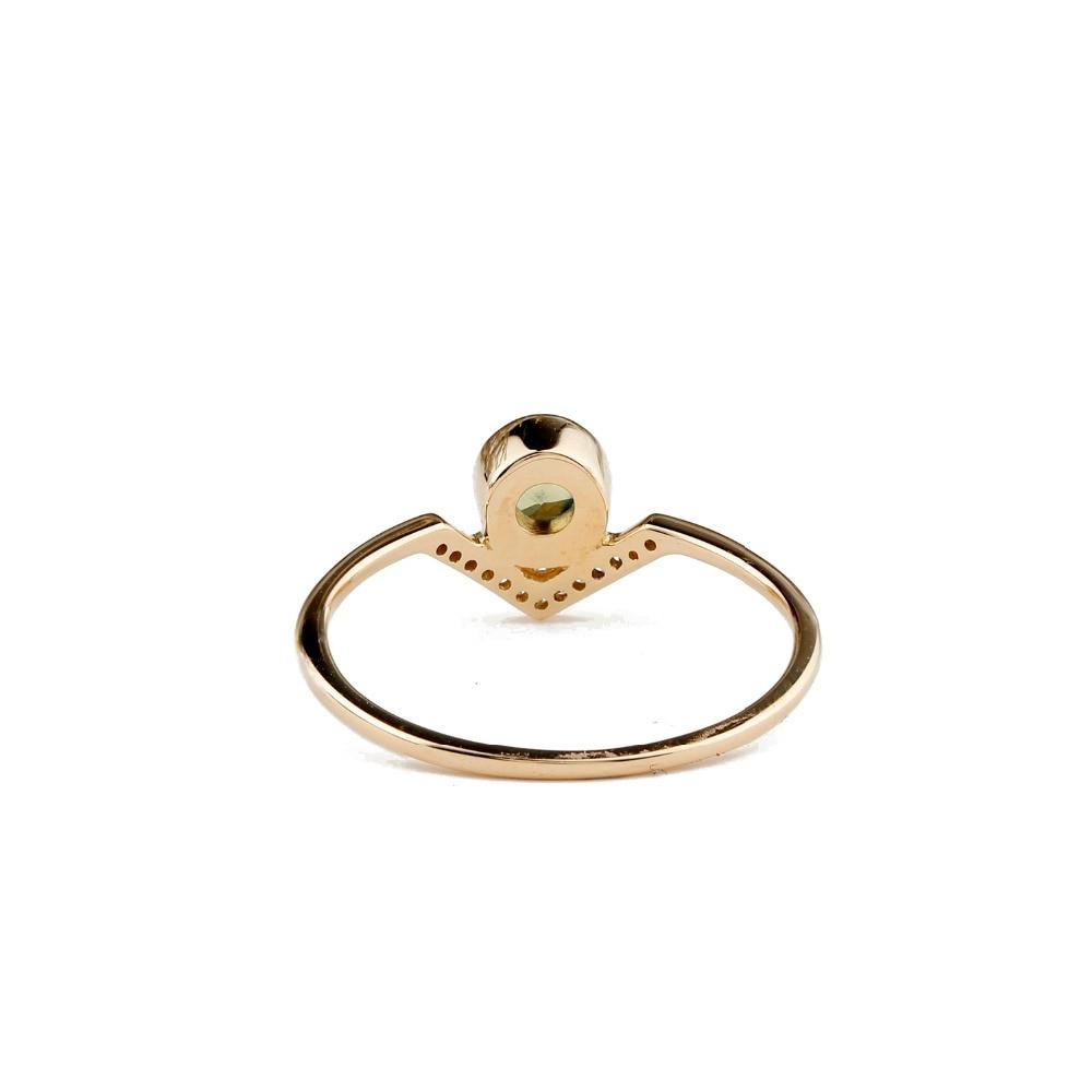 Round Cut 0.37CT Natural Green Sapphire Diamond 18K Gold Engagement Wedding Ring