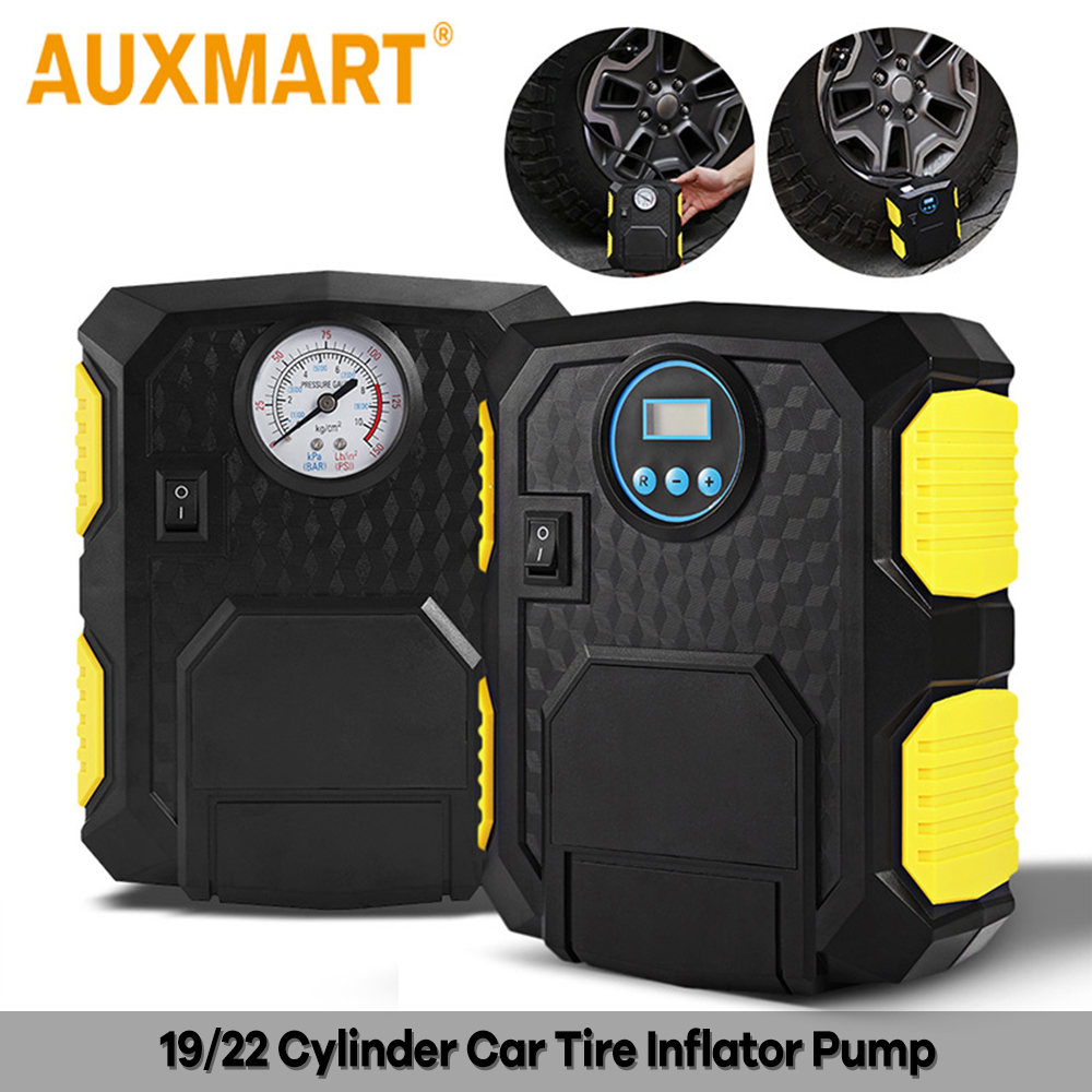 Auxmart Car Tire Inflator Pump Portable Electric 12v Auto Air Compressor Led Light Digital Inflatable Pump 19/22 Cylinder 120w And Digestion Helping