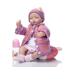 Dressed In Colourful Handmade Sweater Realistic Baby Doll Sleeping Bebe Reborn Silicone Hot Simulation Reborn Doll For Children