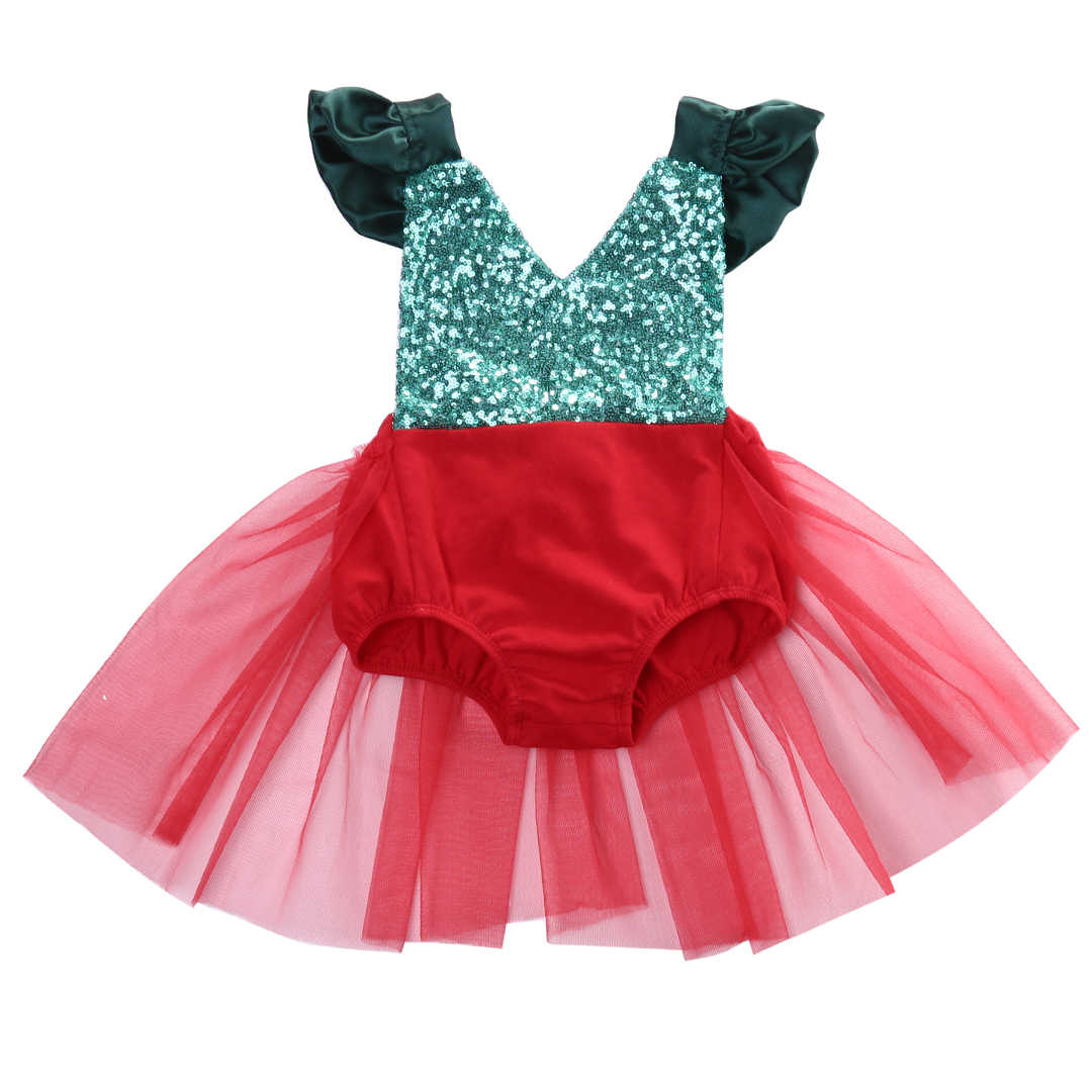 7021a409f1c6 Baby Rompers Christmas Newborn Baby Girl Tulle Romper Backless Jumpsuit  Sunsuit Outfits Costume Cute Baby Clothes