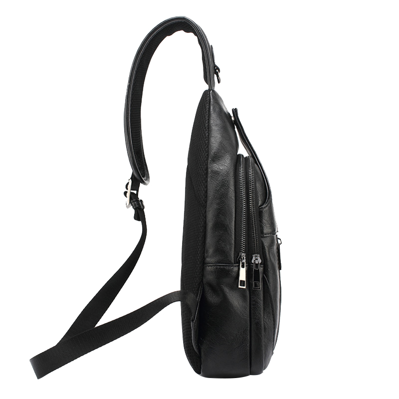 16d4ce541672 Solid Vintage Black Zipper Bags Water Proof PU Leather Soft Mens Chest Bag  Europe Style Cross Body Bags-in Crossbody Bags from Luggage   Bags on ...