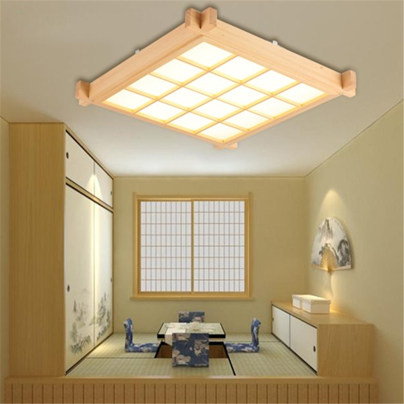 Japanese tatami ceiling lights modern solid wood ceiling lamp led wooden living room lighting lamps master bedroom ceiling light
