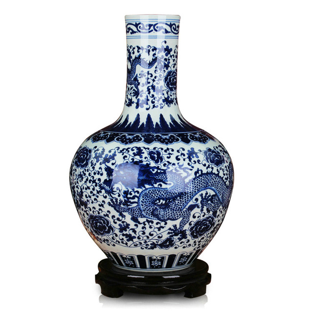 Jingdezhen Chinese Porcelain Vase Antique Blue And White Ceramic