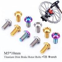 12pcs M5*10mm Bike Risk Disk Brake Rotor Bolts Mountain Titanium T25 Plum Disc Brake Screws With Repair Tool Wrench