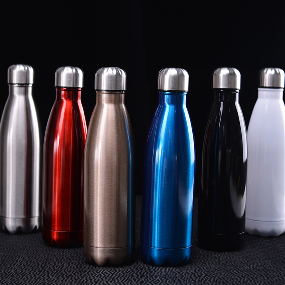 Solid Color Vacuum Flask Water Bottle Leak proof Stainless Steel Thermos Cold Insulated Car Bicycle Drink Bottle Cup in Water Bottles from Home Garden
