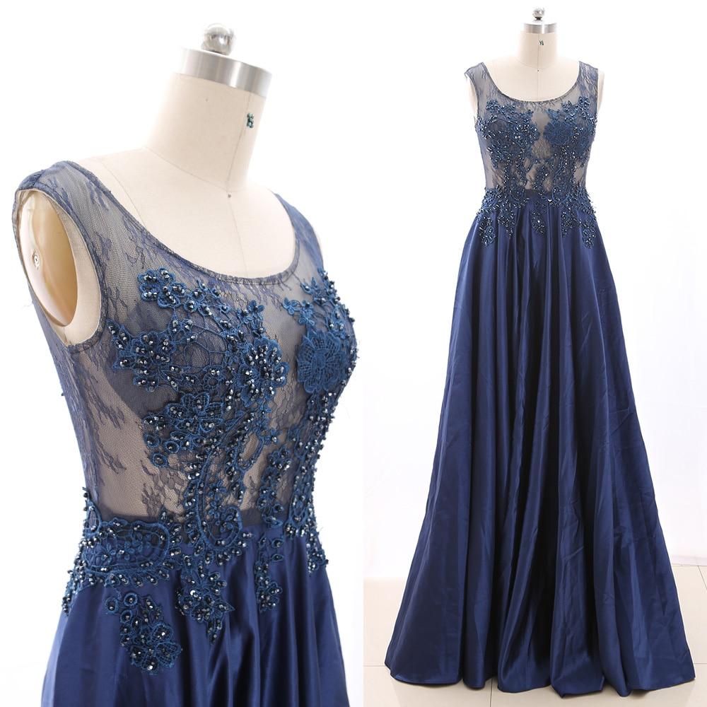 MACloth Dark Navy A-Line Scoop Neck Floor-Length Long Crystal Satin   Prom     Dresses     Dress   M 265941 Clearance