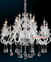 Low Price Stylish White Crystal Chandelier 2 Layer15 Lights Led Candle Chandelier Hotel Villa Townhouse Crystal