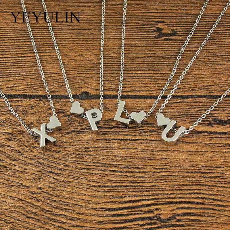 61acf8940b459c Fashion Cute Tiny Dainty Heart Initial Necklace Woman Girls Silver Plated  Name Letter Choker Necklace Jewelry