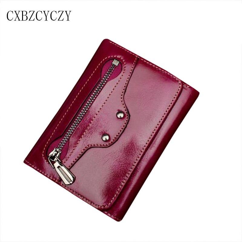 ФОТО 2017 Genuine Leather Women Wallet Short Purse Vintage Cowhide multiple Cards Holder Clutch Fashion Standard Wallet Carteira