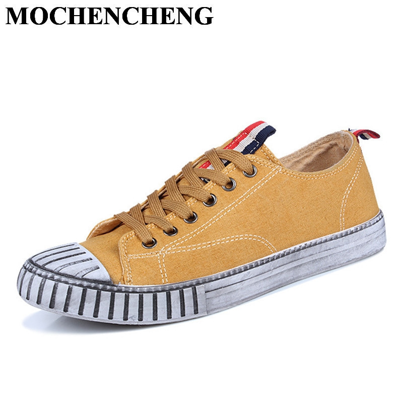New Low Lace-up Men Canvas Shoes Spring Summer Breathable Solid Flat Shoes Classic Retro Round Toe High Quality Leisure Shoes