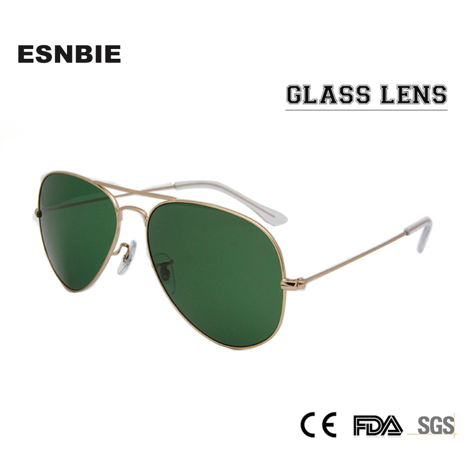 ESNBIE RT 3025 Pilot Speil Sun Glasses For Women Non-Scratch Glass Lens Solbriller Menn 58 55 Gafas De Sol UV400 Glasses