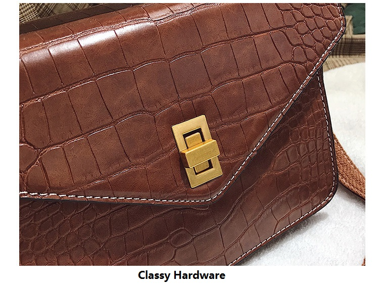 MJ Women Messenger Bag Fashion Crocodile Pattern PU Leather Female Small Handbag Tote Bags Crossbody Shoulder Bag for Girls (2)