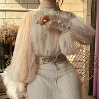 2019 Neue Mode herbst frauen Süße Perlen Blase Hülse Perlen Taste Gaze Blusen Damen Elegante Mesh-Shirt Blusas Tops