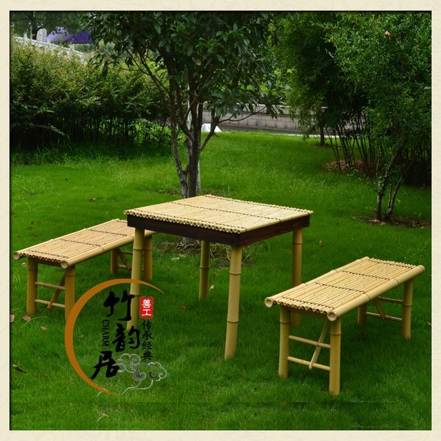 Sail [good works] manual white bamboo square table / park Table ...