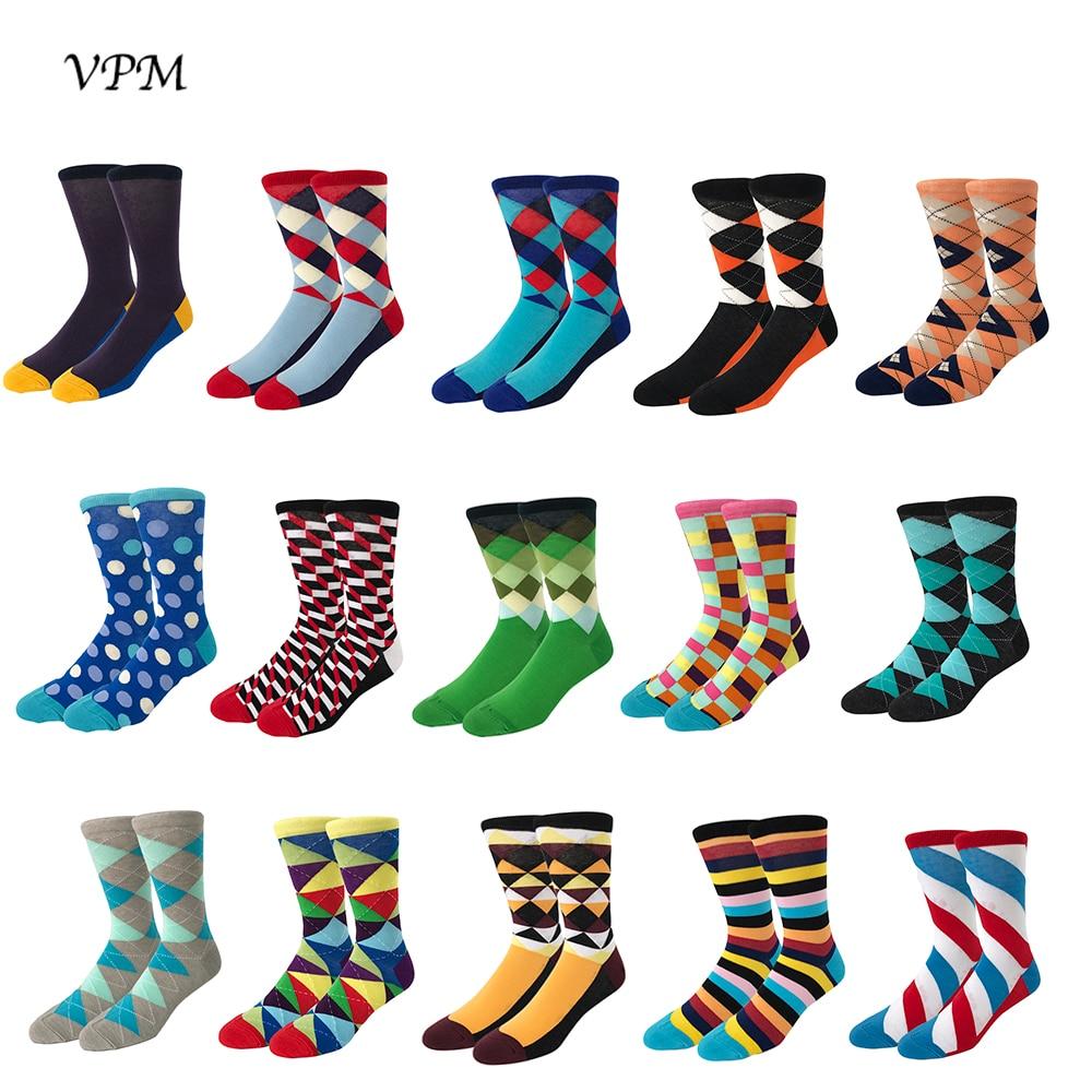 VPM Happy Combed Cotton Men's Socks Harajuku Business Colorful Striped Plaid Diamond Socks For Wedding Christmas Gift