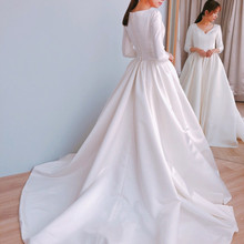 cecelle 2019 A-line Satin Wedding Dresses With 3/4 Sleeves